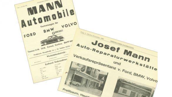 alte Zeitungsartikel mit Werbung über MANN Automobile im Jahr 1967