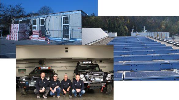 Collage der Photovoltaikanlage, des neuen Gebäudes für Achsvermessung und Bremsenprüfung, sowie dem Team der Karpata-Rallye