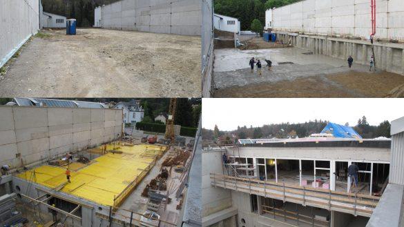 Collage des Baufortschrittes beim Zubau der neuen Neuwagenverkaufshalle