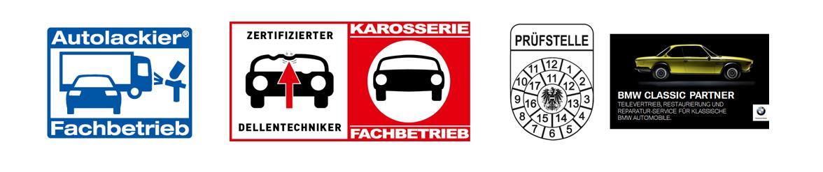 Auszeichnungen Autolackierer Fachbetrieb, Zertifizierter Dellentechniker, Karosserie Fachbetrieb, Prüfstelle und BMW Classic Partner
