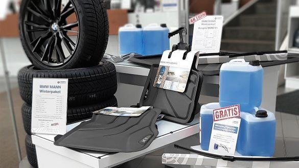 Winterpaket bestehend aus Winter-Kompletträdern, Gummifußmatten, Wischerblättern und Scheibenfrostschutz