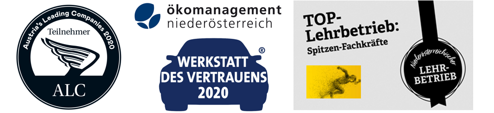 Auszeichnungen Austrias Leading Companies 2020, Werkstatt des Vertrauens 2020 und Top-Lehrbetrieb