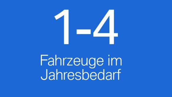 Schild mit Beschriftung 1-4 Fahrzeuge im Jahresbedarf