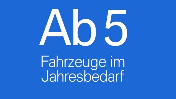 Schild mit Beschriftung Ab 5 Fahrzeugen im Jahresbedarf