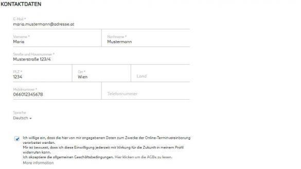 Kontaktdatenerfassung bei der Onlineterminvereinbarung