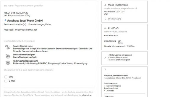 Buchungs-Zusammenfassung der Online-Terminvereinbarung
